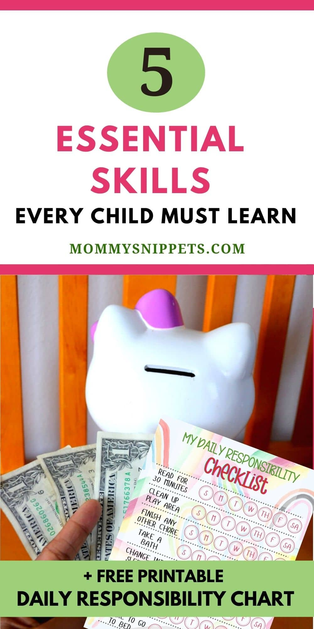 Top 5 Essential Skills Every Child Must Learn At Home (+ Free Printable Daily Responsibility Chart)