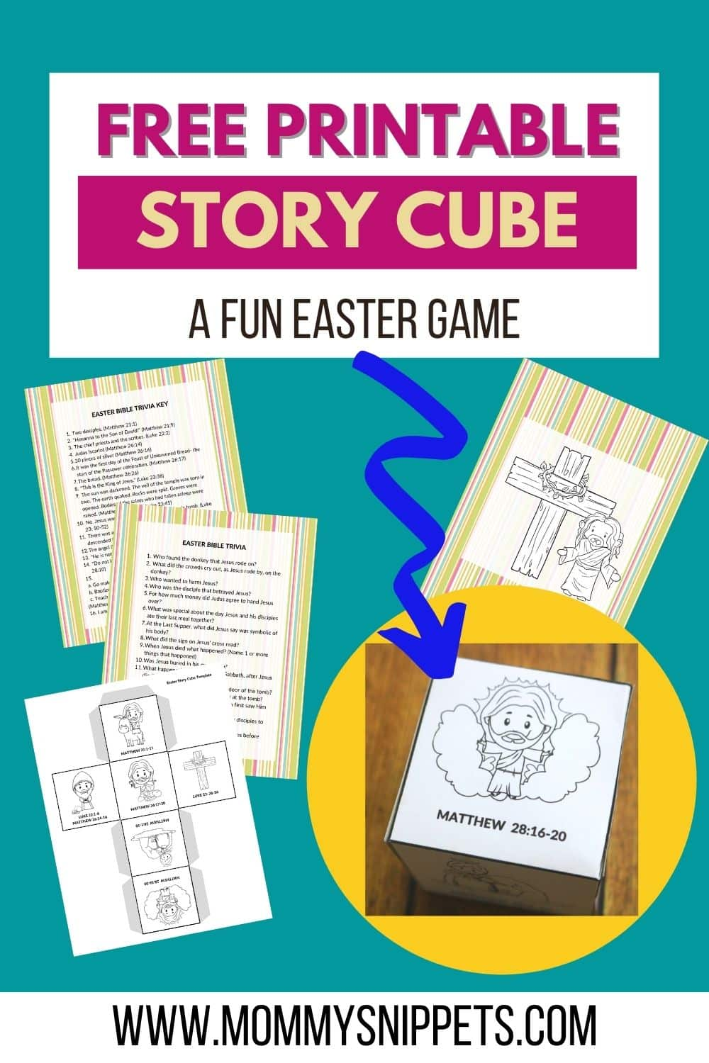 The Best Easter Story for Kids Story Cube Activity -Free Printable Easter Game