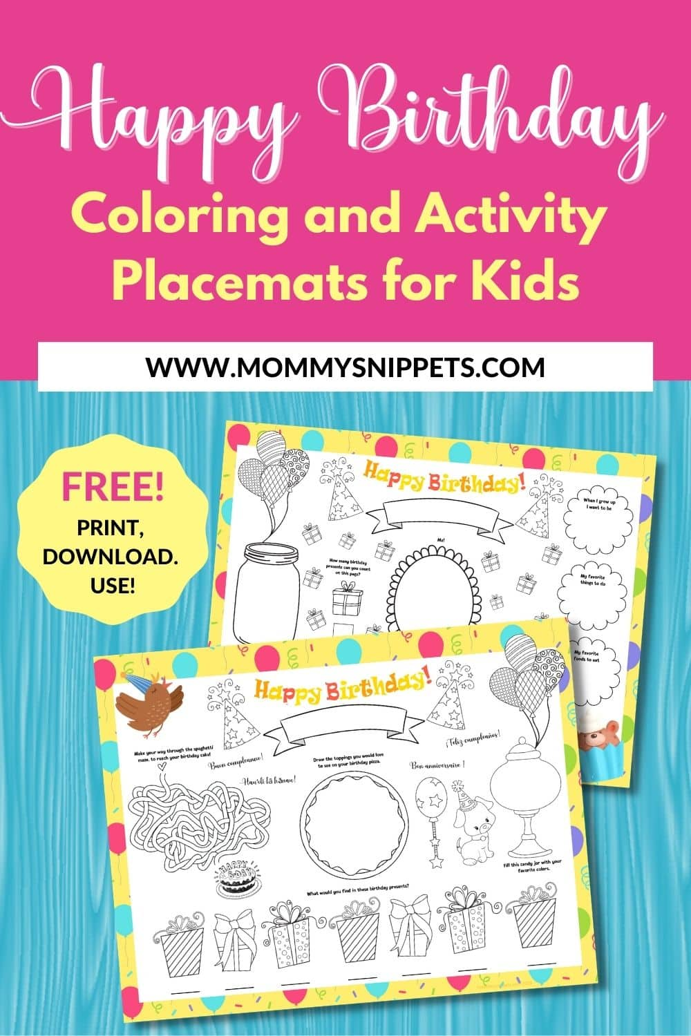 A Free Happy Birthday Printable Coloring and Activity Placemat
