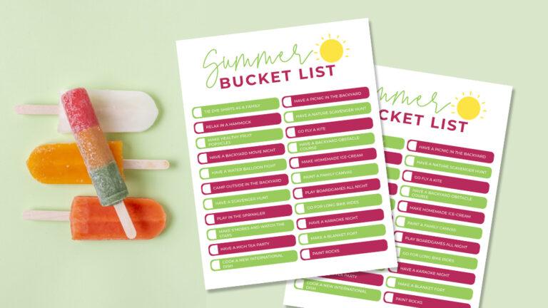 Summer Bucket List Ideas + A Free Printable Summer Bucket List for Teens