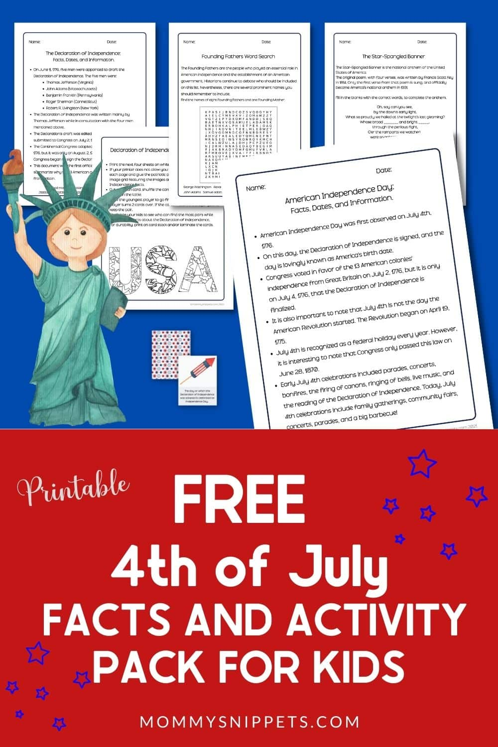 FREE 4th of July Facts and Activity Pack for Kids- MommySnippets.com