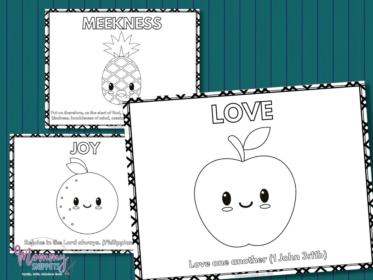 Fruit of the Spirit Coloring Pages- Free Printable Bible Verses