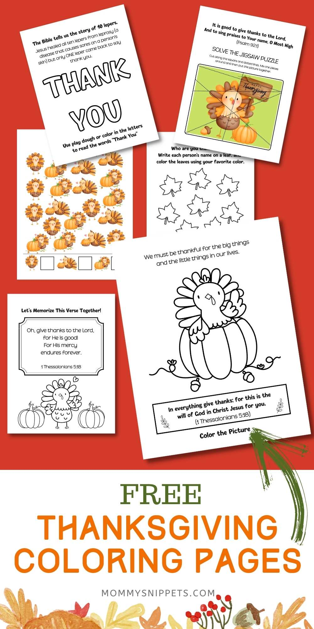 Free Thanksgiving Coloring Pages with Bible Verses for Kids and Activity Sheets- MommySnippets.com