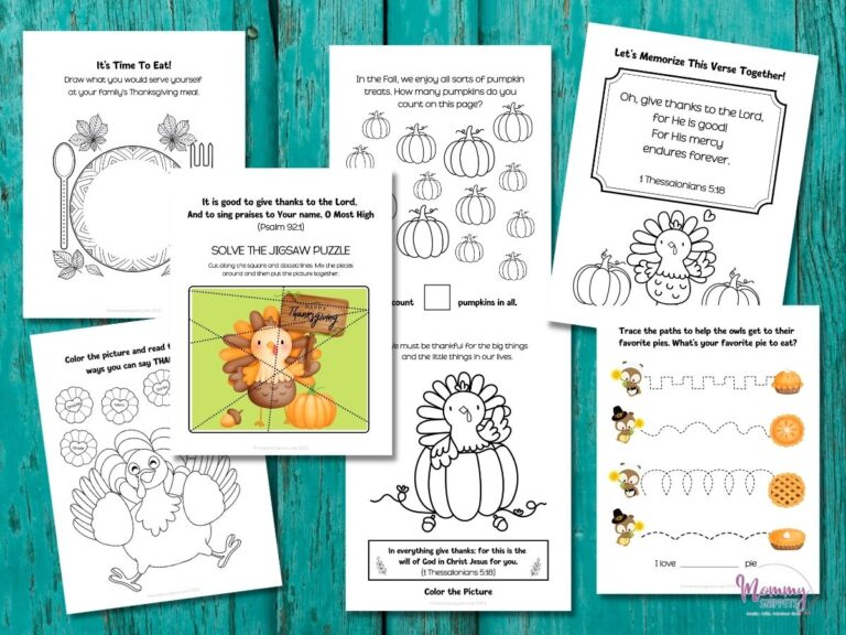 Free Thanksgiving Coloring Pages with Bible Verses for Kids and Activity Sheets