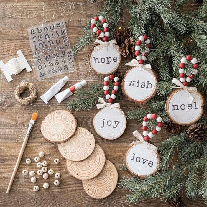 Making handmade wood Christmas ornaments Hope Joy Love