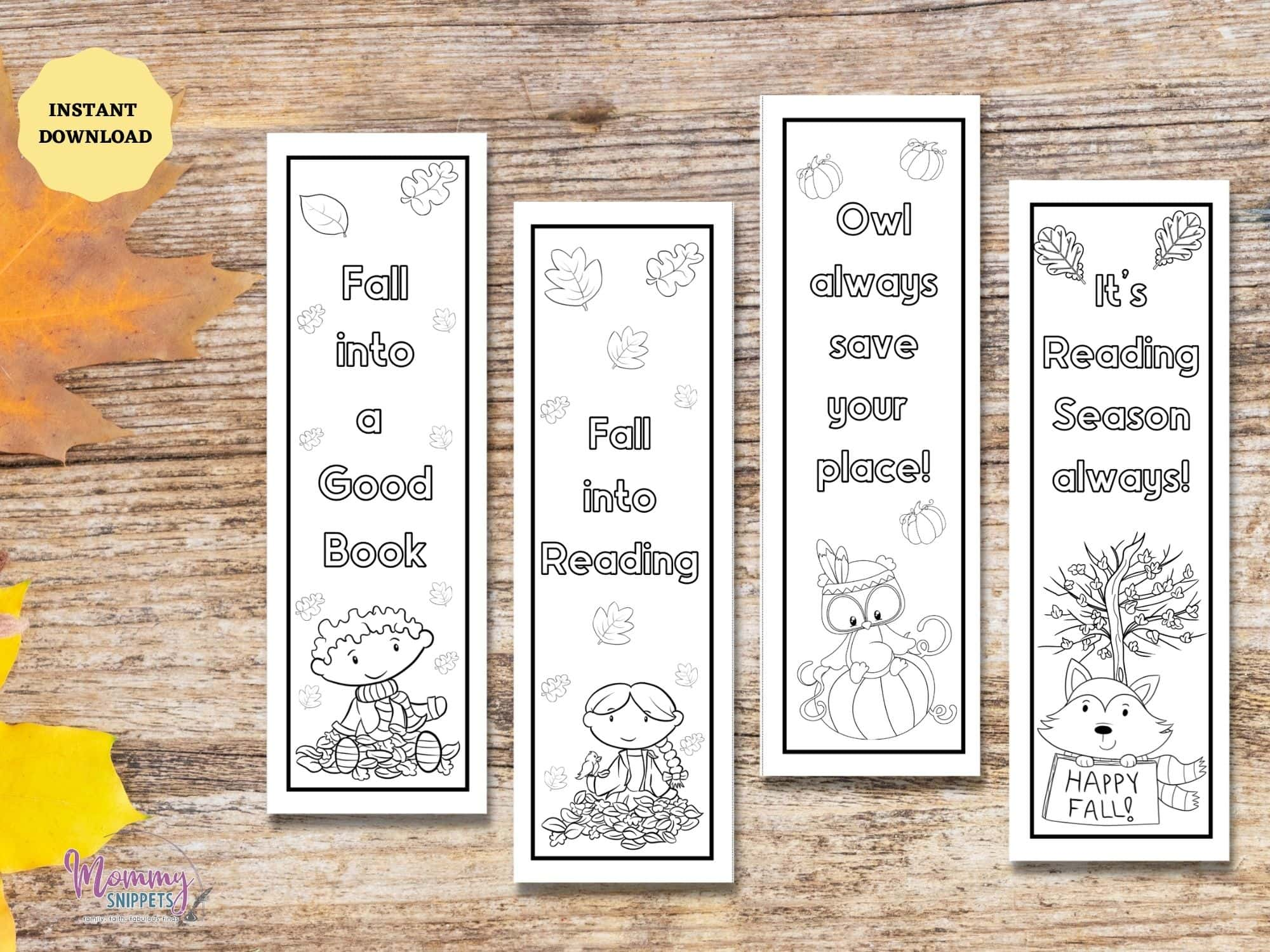 Fall coloring bookmarks- color your own fall bookmarks