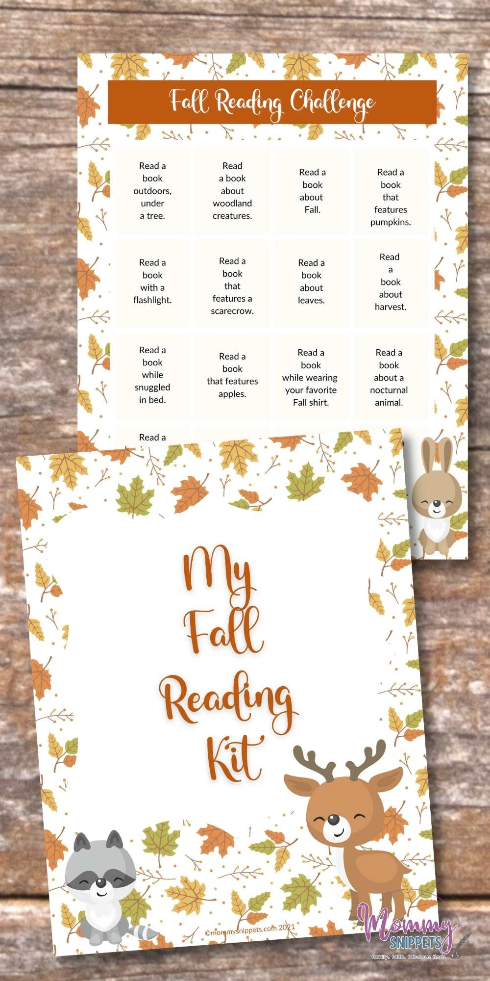 Fall Reading Challenge Printable with Fall Reading Prompts for Kids